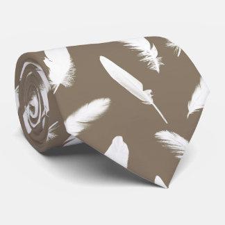 White feather print on taupe neck tie