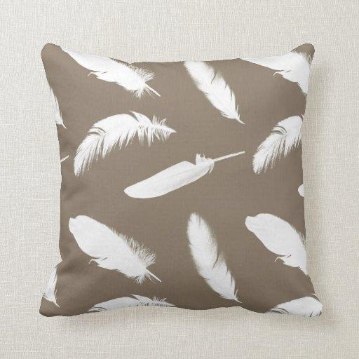 white feather print on taupe throw pillow zazzle