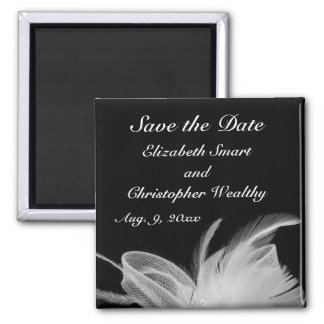 White Feather Save The Date Magnet