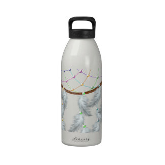 White feathered rainbow dream catcher water bottle