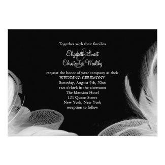White Feathers 5 x 7 Wedding Invitation