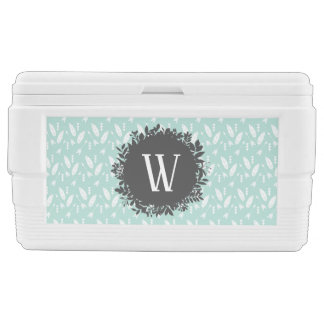 White Feathers and Arrows Pattern with Monogram Chest Cooler