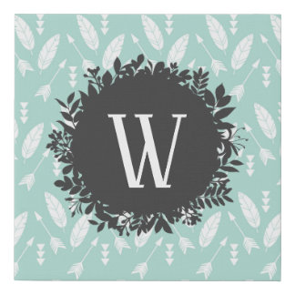 White Feathers and Arrows Pattern with Monogram Faux Canvas Print