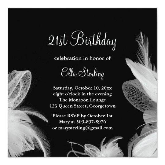White Feathers Birthday Invitation