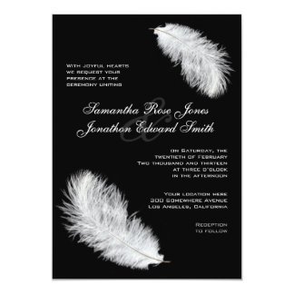 White Feathers Black Wedding Invitation