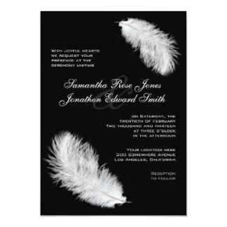 White Feathers Black Wedding Invitation