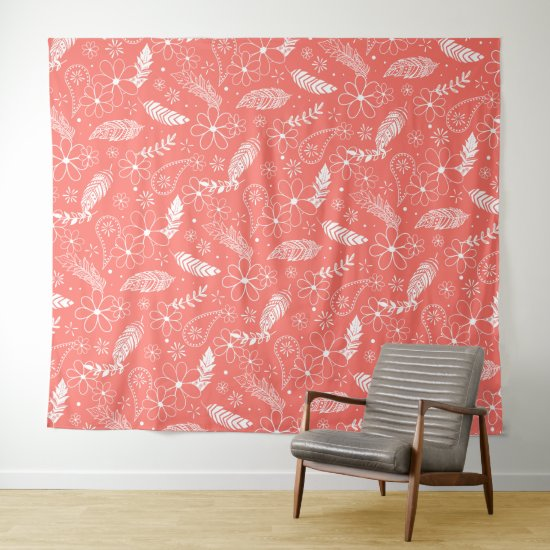 white feathers doodle flowers paisley on coral tapestry