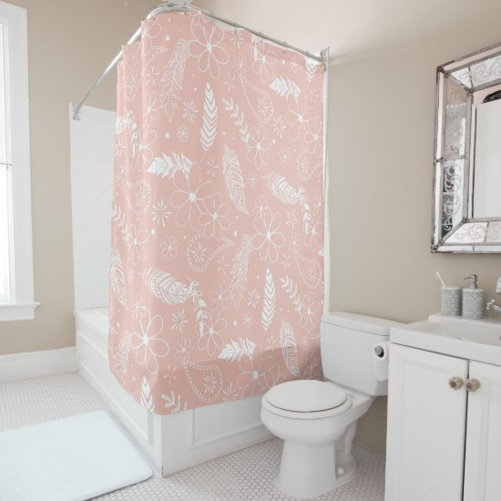 white feathers flowers paislies pink or ANY color Shower Curtain