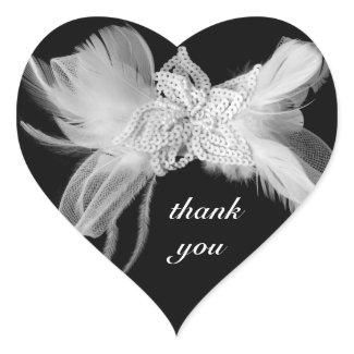 White Feathers Heart Thank You Sticker zazzle_sticker