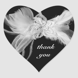 White Feathers Heart Thank You Sticker