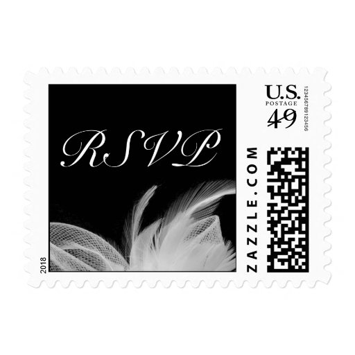 White feathers RSVP Stamp