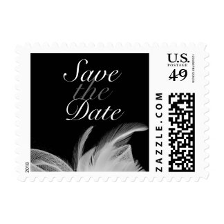 White Feathers Save the Date 2 Stamp