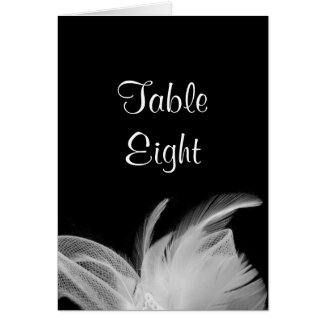 White Feathers Table Number Card (black) zazzle_card