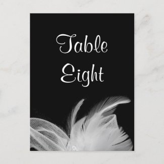 White Feathers Table Number Postcard zazzle_postcard