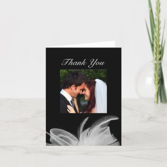 White Feathers Thank You Card zazzle_card