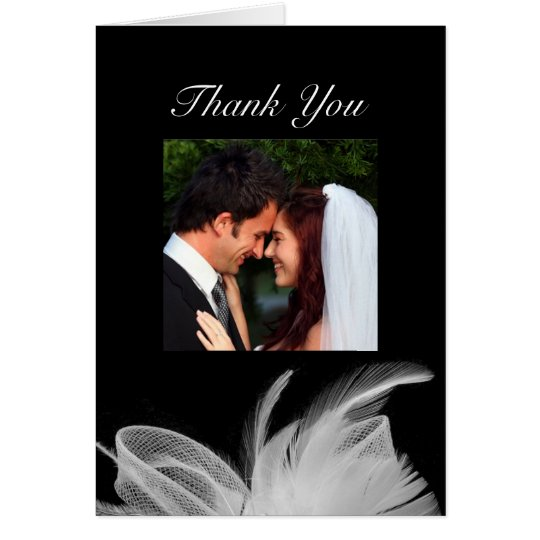White Feathers Thank You Card