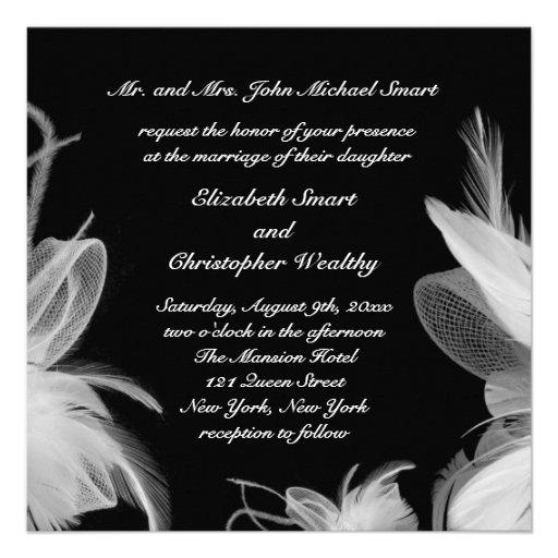 White Feathers Wedding Invitation