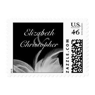 White feathers Wedding Invitation Stamp zazzle_stamp