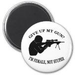 White Female Gun Not Stupid 2 Inch Round Magnet