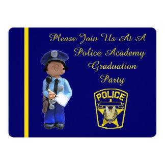 White Female Police Academy Graduation Invitation