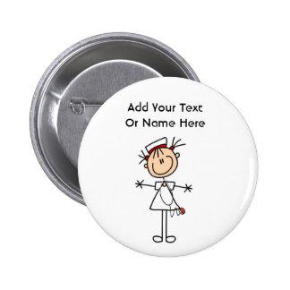 White Female Stick Figure Nurse 2 Gifts 2 Inch Round Button