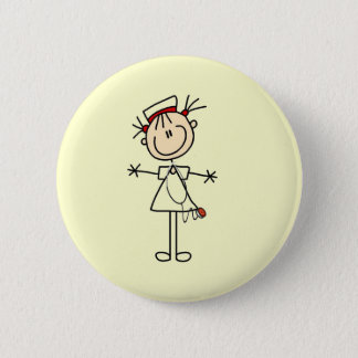 White Female Stick Figure Nurse 2 Gifts Button