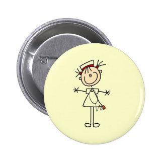 White Female Stick Figure Nurse 2 Gifts Pins
