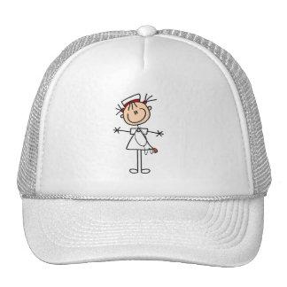 White Female Stick Figure Nurse 2 Gifts Hats
