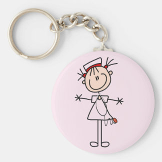 White Female Stick Figure Nurse 2 Gifts Keychain