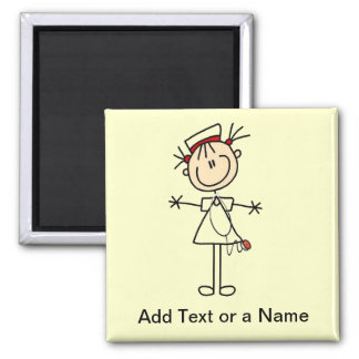 White Female Stick Figure Nurse 2 Gifts Magnet