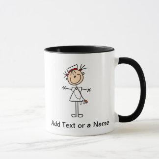 White Female Stick Figure Nurse 2 Gifts Mug