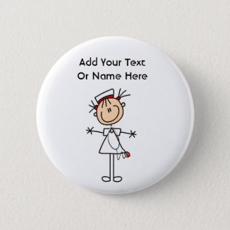 White Female Stick Figure Nurse 2 Gifts Pinback Button