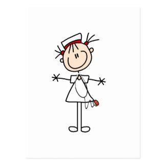 White Female Stick Figure Nurse 2 Gifts Postcard