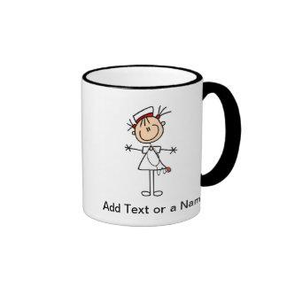 White Female Stick Figure Nurse 2 Gifts Ringer Mug