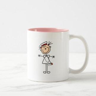 White Female Stick Figure Nurse 2 Gifts Two-Tone Coffee Mug