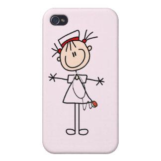 White Female Stick Figure Nurse 2 iPhone 4 Cover