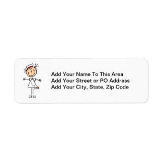 White Female Stick Figure Nurse 2 Label