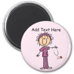 White Female  Stick Figure Nurse T-shirts and Gift 2 Inch Round Magnet