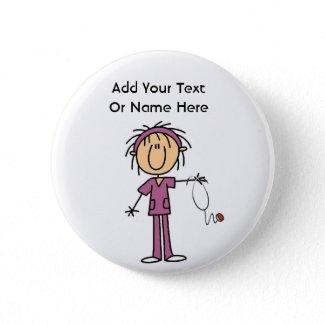 White Female Stick Figure Nurse T-shirts and Gift button