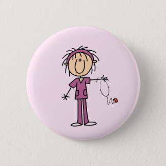 White Female  Stick Figure Nurse T-shirts and Gift Button