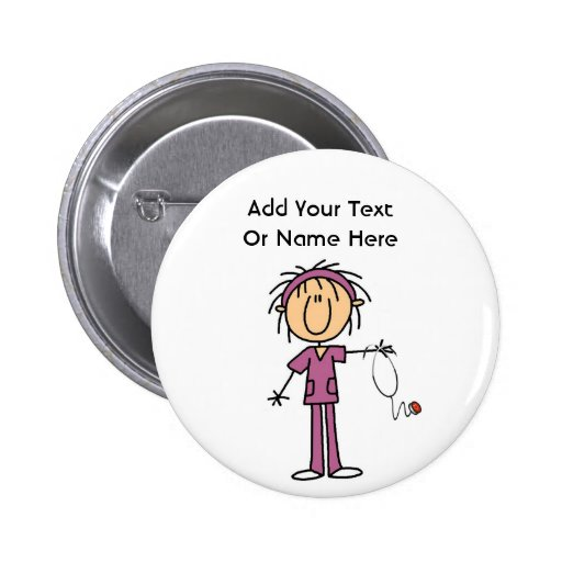 White Female  Stick Figure Nurse T-shirts and Gift Buttons