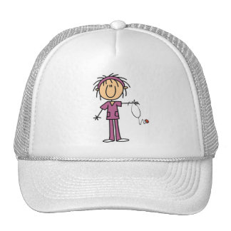 White Female  Stick Figure Nurse T-shirts and Gift Hat