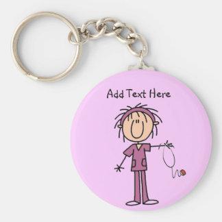 White Female  Stick Figure Nurse T-shirts and Gift Keychain