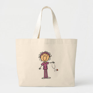 White Female  Stick Figure Nurse T-shirts and Gift Large Tote Bag