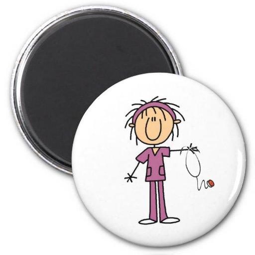 White Female  Stick Figure Nurse T-shirts and Gift Fridge Magnet