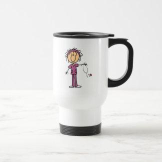 White Female  Stick Figure Nurse T-shirts and Gift 15 Oz Stainless Steel Travel Mug