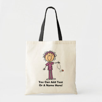 White Female  Stick Figure Nurse T-shirts and Gift Tote Bag