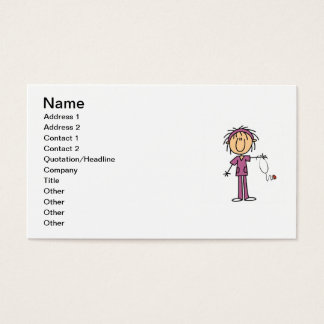 White Female Stick Figure Nurse T-shirts and Gifts Business Card