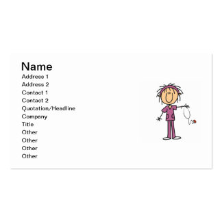 White Female Stick Figure Nurse T-shirts and Gifts Business Card Templates