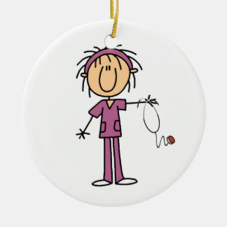 White Female Stick Figure Nurse T-shirts and Gifts Ornaments